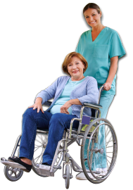 caregiver pushing wheelchair of patient
